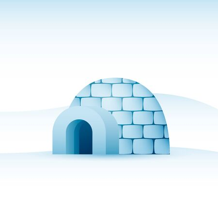 Vector icy cold house made from ice blocks illustration
