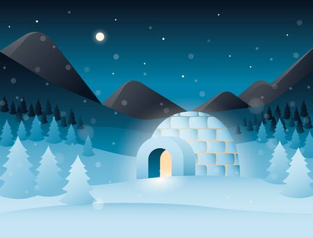 Vector night scenery with icy cold house, mountains, forest