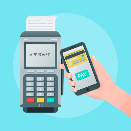 Mobile wireless payment concept. Vector illustration of pos terminal, mobile phone in hand