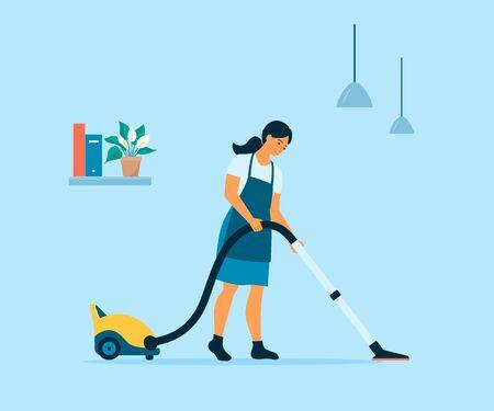 Flat style vector of a cartoon girl vacuums the floors