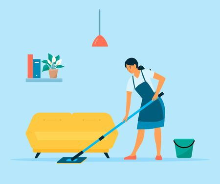 Woman cleaning floor with a mop and a bucket of water. Flat style vector illustration. Housewife doing housework at home