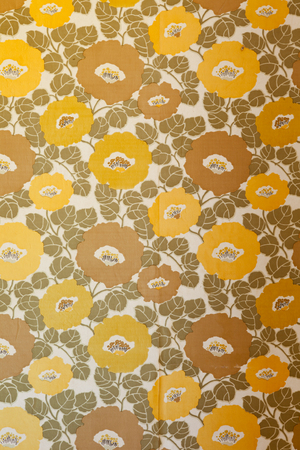 architectural feature: An empty room with brown and yellow floral ornament vintage wallpaper. Stock Photo