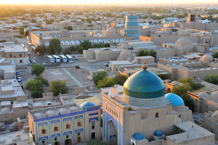 Khiva: landmarks on sunset 版權商用圖片