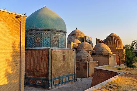 Samarkand: shah-i-zinda mausoleum on sunset
