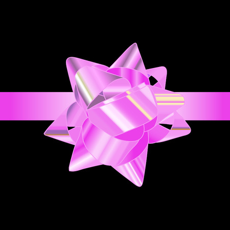 pink bow: Pink bow on a black background.