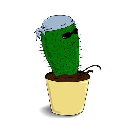 Cactus escapes from the pot. Hand drawn.