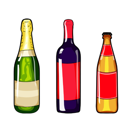 Champagne bottle, wine bottle and beer bottle. Set of alcohol bottle. Cartoon style. Alcohol bottle design element. Hand drawing alcohol bottle. Vector illustration bottle. New Year. Merry Christmas.