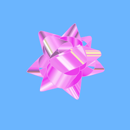 pink bow: Pink bow on a blue background. Vector illustration. Isolated vector object.
