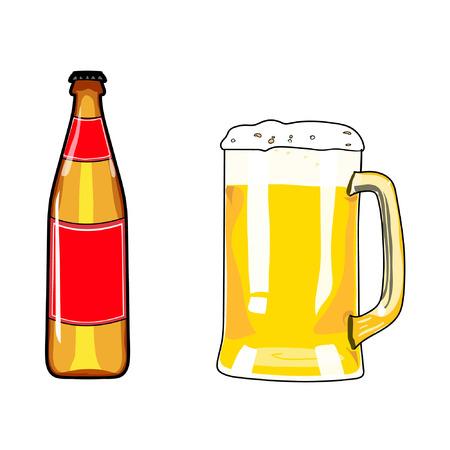 beer party: Beer bottle and mug of beer. Beer icon. Beer design element. Cartoon style beer. Hand drawing alcohol. Vector illustration beer. Beer party. Beer background. Beer poster.