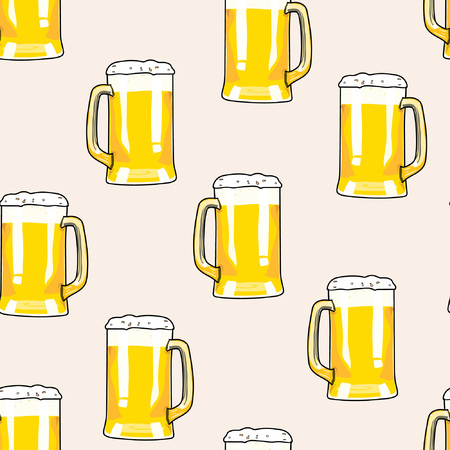 Seamless pattern mug of beer. Bar card. Alcohol party background. Cartoon style beer. Hand drawing beer. Vector illustration beer. Beer background. Pint beer. Beer poster. Beer card. Beer glass. 向量圖像