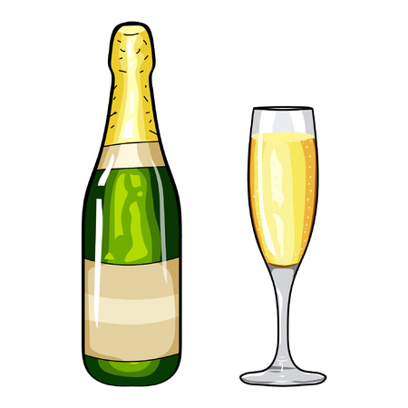 popping cork: Champagne bottle and glass of champagne. Design element champagne. Cartoon style. Hand drawing champagne. Vector illustration champagne. Happy New Year. Merry Christmas. Holidays design element.