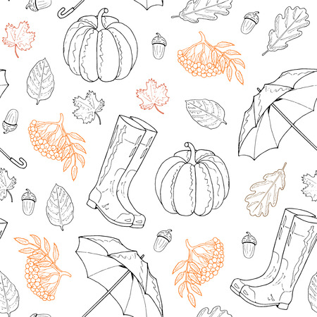Seamless pattern from leaves, rubber boots, umbrella, mountain ash, pumpkin, acorn on a white background. Hand drawing. Vector illustration.
