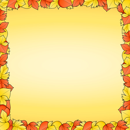 Yellow background with frame of red and autumn leaves. Autumn background. Hand drawing. Vector illustration.