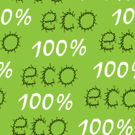 Inscription 100 per cent ECO in the form of a swirling green branch plant vines on a green background. Seamless pattern organics. Hand drawing. Vector illustration green eco. Organic food background. Stock Illustratie