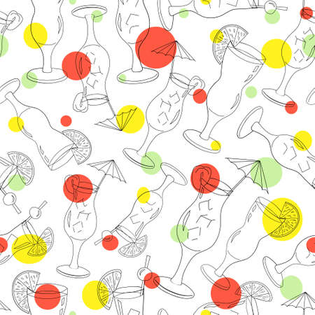 Seamless pattern of cocktails on a white background. Design for a cocktail party. Cold alcoholic drinks for advertising, booklet, banner, bar menu, restaurant, cafe. Hand drawing. Illustration. 向量圖像