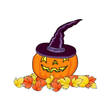 Halloween pumpkin in a witches hat on autumn leaves. Happy Halloween background. Autumn background. Hand drawing. Vector illustration.