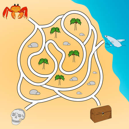 Kids maze. Labyrinth treasure hunters. Help the crab to get to the treasure chest. Hand drawing. Vector illustration. Ilustração Vetorial