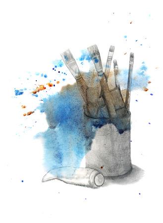 art materials: Art materials Brushes and paint