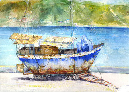 littoral: the old ship watercolor drawing of a rusty ship