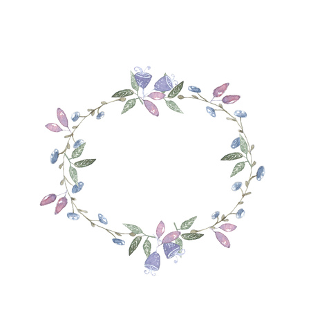 flower leaf: wreath blueberry berries and leaves in blue pastel watercolor Stock Photo