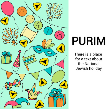 National Jewish holiday, Purim holiday concept, Hand drawn vector illustration in doodle style.
