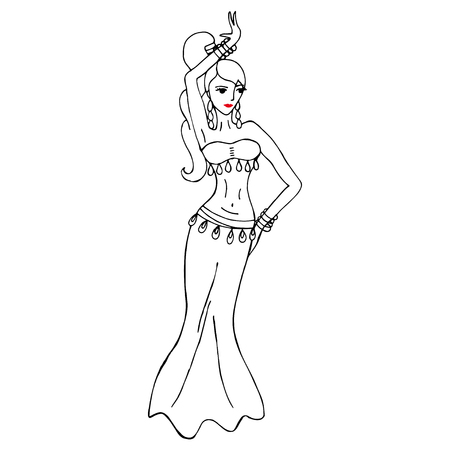 Vector illustration with woman dancing