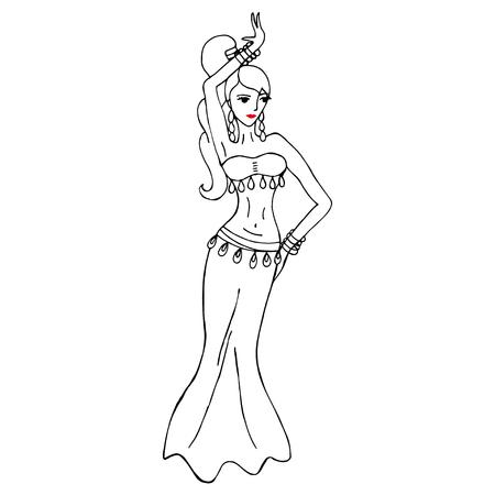 Vector illustratie met vrouw dansen