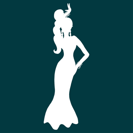 Vector illustration with white silhouette of woman dancing