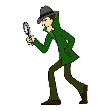 Detective look through magnifying glass.