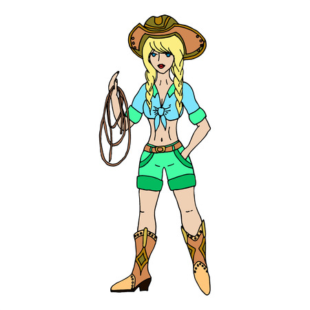 Blonde cowgirl with lasso. Vector illustration. Isolated on white background.