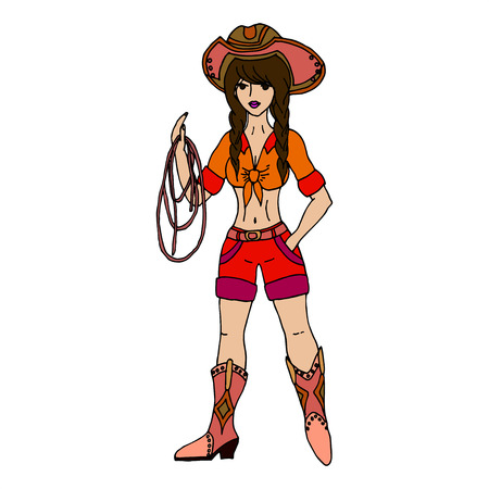 Brunette cowgirl with lasso. Vector illustration. Isolated on white background.