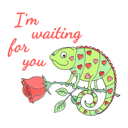 A colorful chameleon with hearts on the skin sits on a rose. Cartoon vector illustration. Inscription