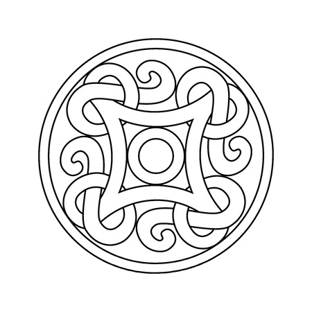 Ancient viking ornament in a graphic style. Vector coloring illustration design isolated on a white background. Vettoriali