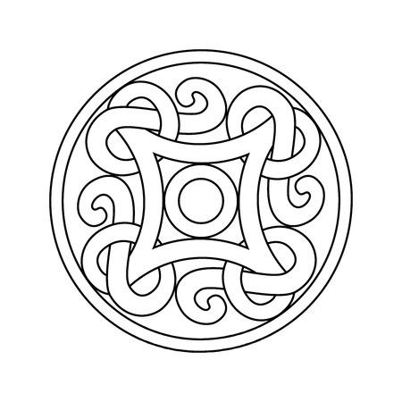 Het oude ornament van Viking in een grafische stijl. Vector kleurend illustratieontwerp dat op een witte achtergrond wordt geïsoleerd.