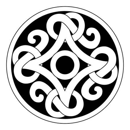 Ancient viking ornament in a graphic style in black circle. Vector illustration design isolated on a white background.  イラスト・ベクター素材