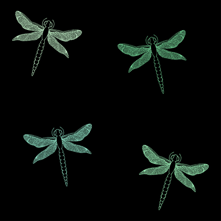 Seamless pattern with beautiful dragonflies. Hand drawn vector illustration.