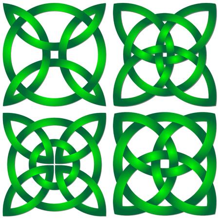 ensemble de shamrock celtique shamrock dans le cercle. symbole de hoilday Vecteurs
