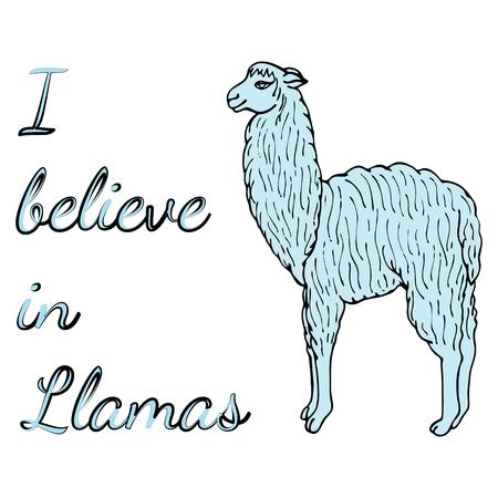 Cute llama or alpaca illustration with inscription I believe in Llamas. Amusing light blue animal on the white background.