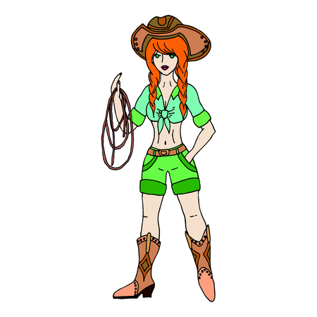 Redhead cowgirl with lasso. Vector illustration. Isolated on white background. Illustration
