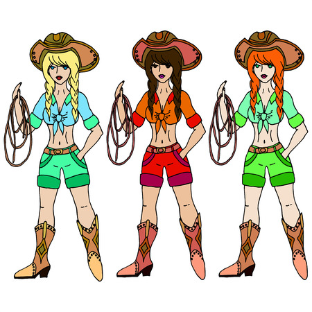 Three girls cowgirl with lasso. Vector illustration. Isolated on white background.