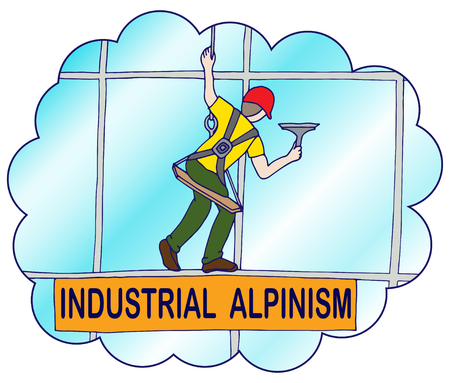 Climber washes windows in a skyscraper. Vector illustration for advertising  by companies engaged in industrial alpinism and work at altitude. Иллюстрация