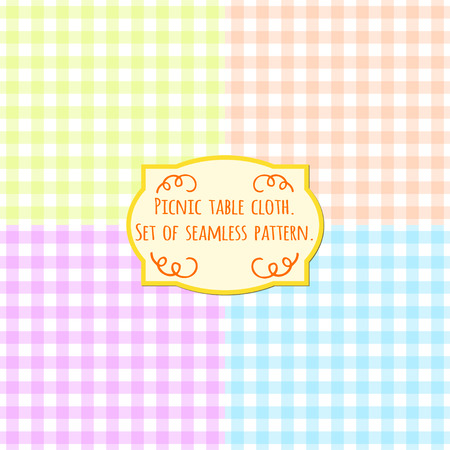 Picnic table cloth. Set of four pastel color square seamless pattern. Illustration