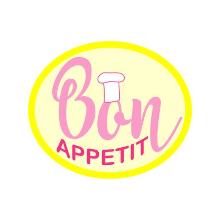 Bon Appetit lettering, custom writing isolated on white background. Vector illustration.