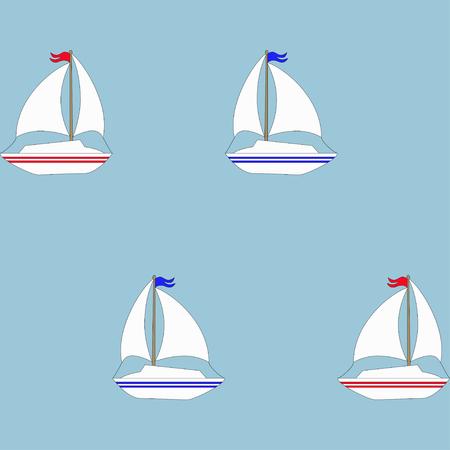 Retro boat seamless pattern. Vector illustration for nautical design. Bright yacht, ship, sailboat transport. Marine sea cute wallpaper background. Cartoon silhouette shape.