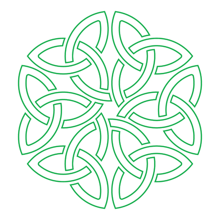 Celtic shamrock knot in circle. Symbol of Ireland.