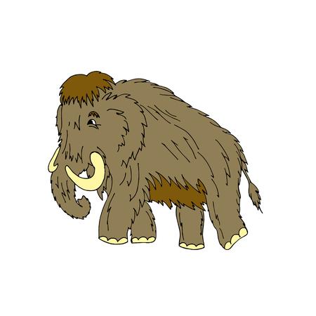 Cartoon mammoth standing on ice age. Vector illustration. Isolated on white background. Stock Illustratie