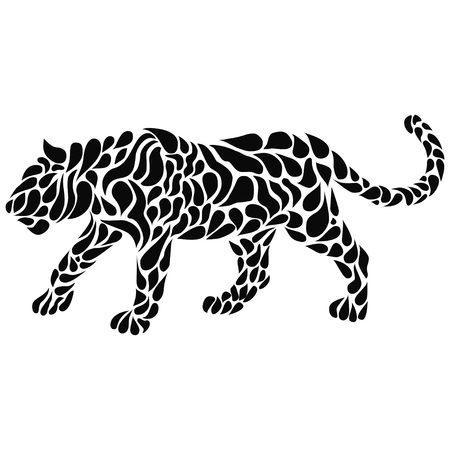 Silhouette of a walking black panther in a tattoo style. Vector illustration
