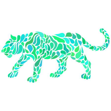 Silhouette of a walking colorful panther in a tattoo style. Vector illustration
