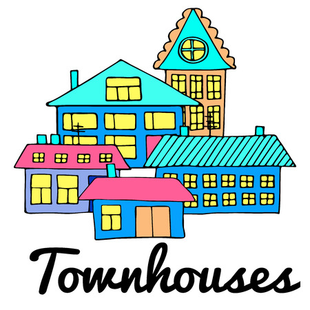 Houses on a street. Illustration of a city landscape with townhouse. Doodle style. Stock Illustratie