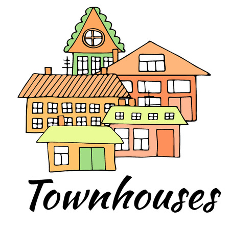 Houses on a street. Illustration of a city landscape with townhouse. Doodle style. Illustration